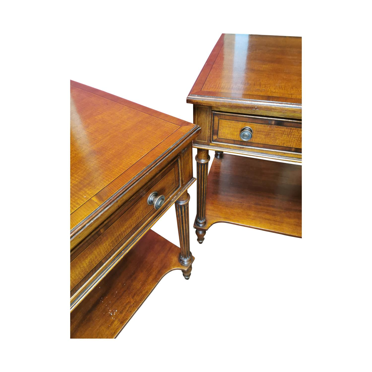 Pair of inlaid mahogany two tier lamp tables - Image 3 of 3