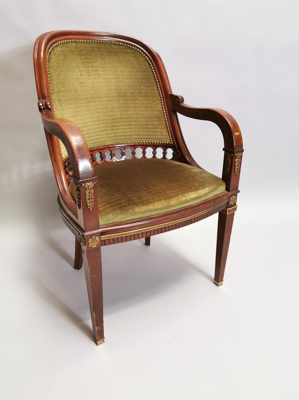 Upholstered mahogany desk chair