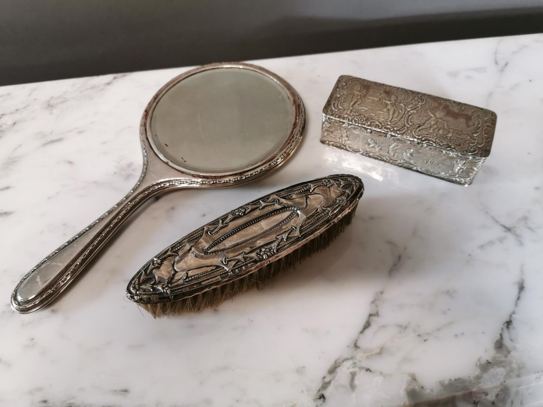 English silver hand mirror, brush and clip box.