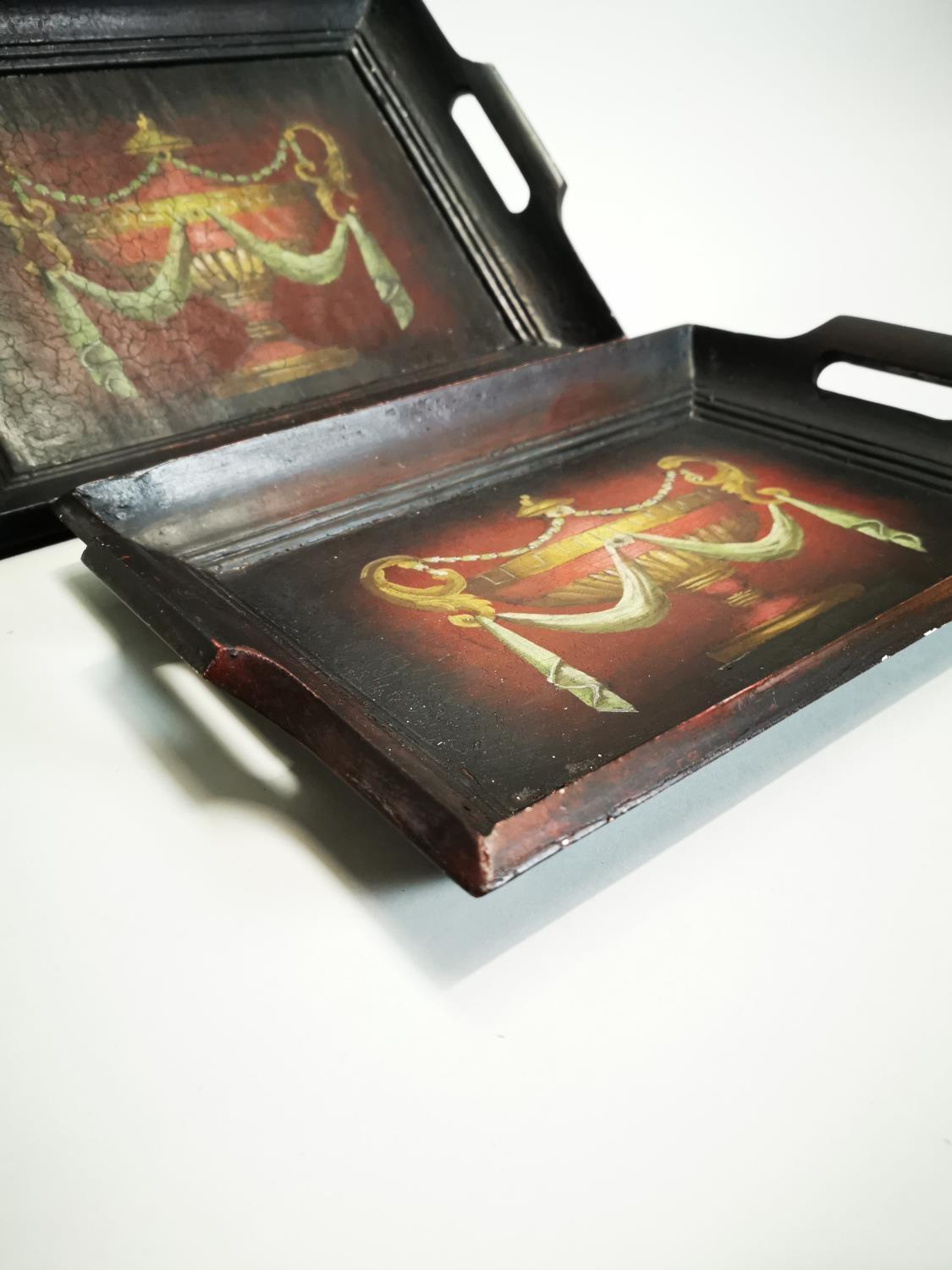 Two hand painted wooden serving trays - Image 5 of 6