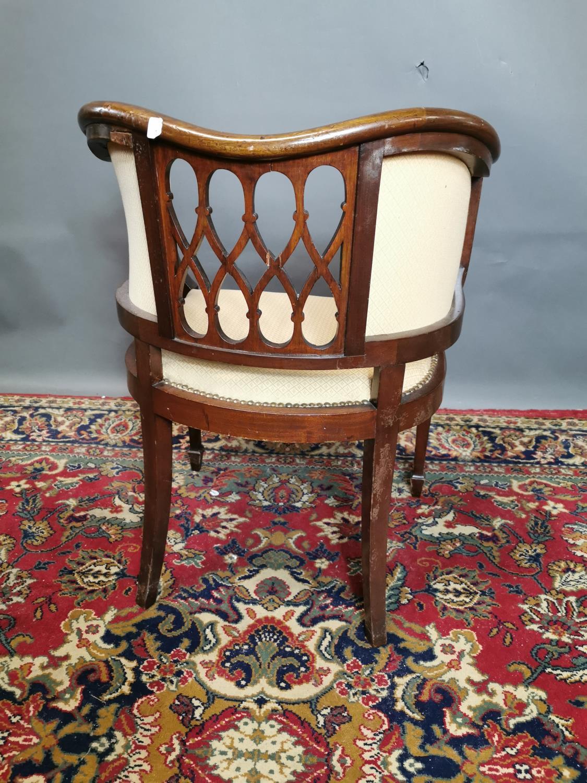 Edwardian upholstered inlaid mahogany armchair - Image 3 of 3