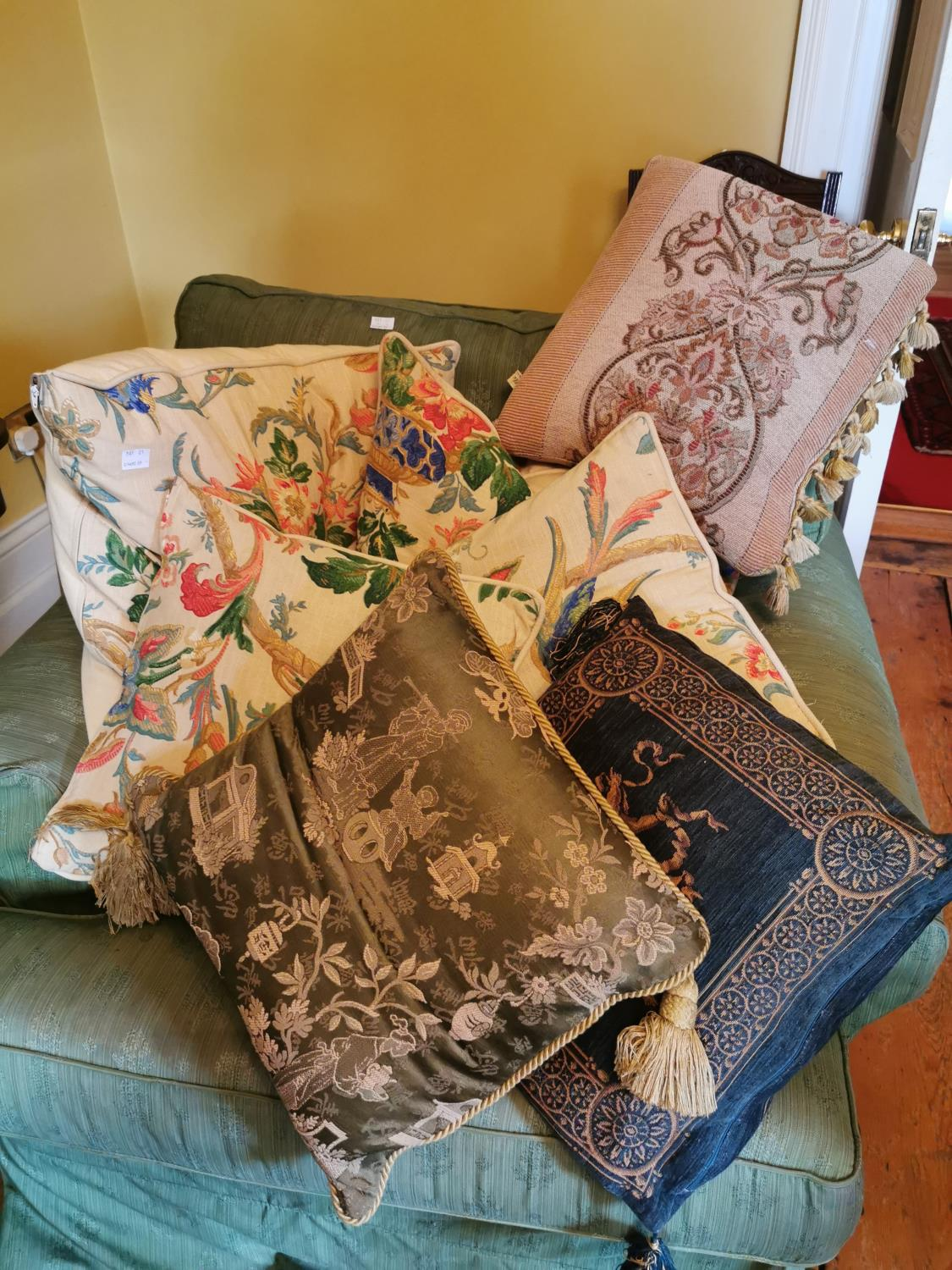 Collection of seven cushions