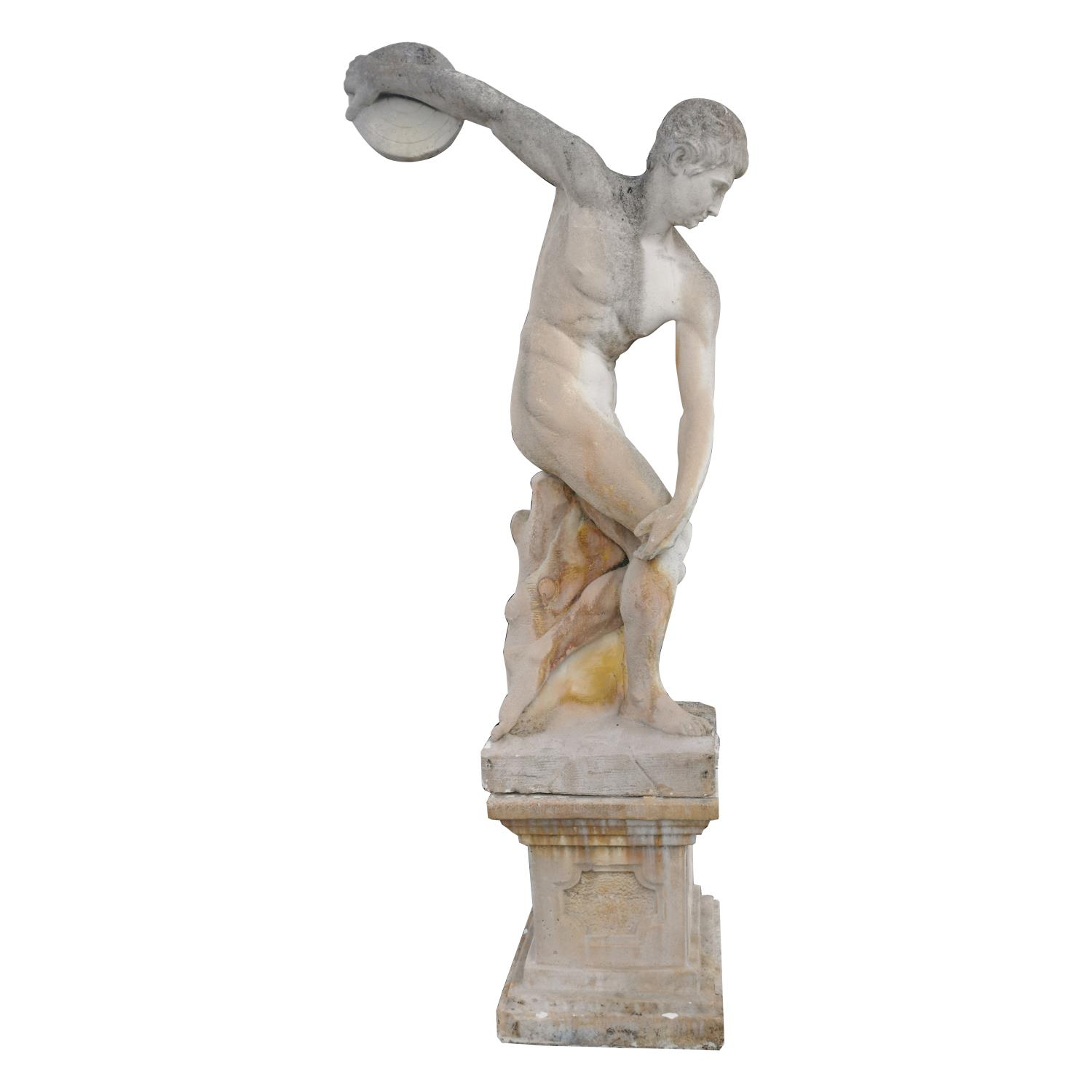 Moulded stone statue of Greek Disc Thrower