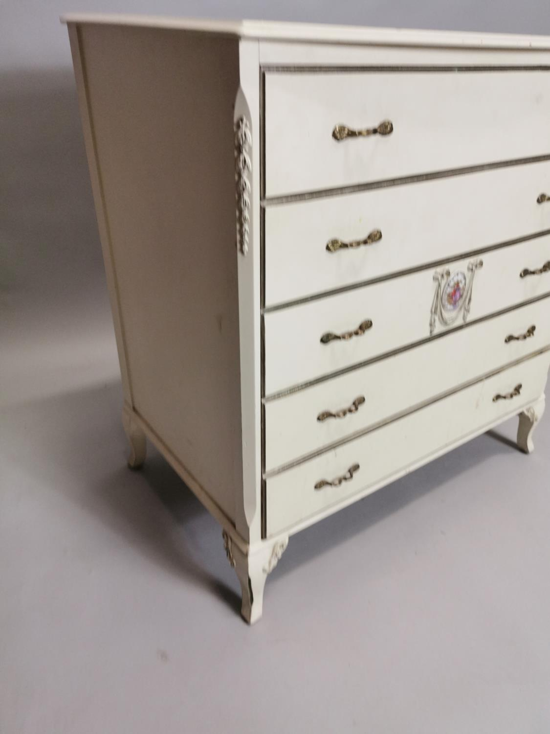 Painted chest with five long drawers - Image 3 of 7