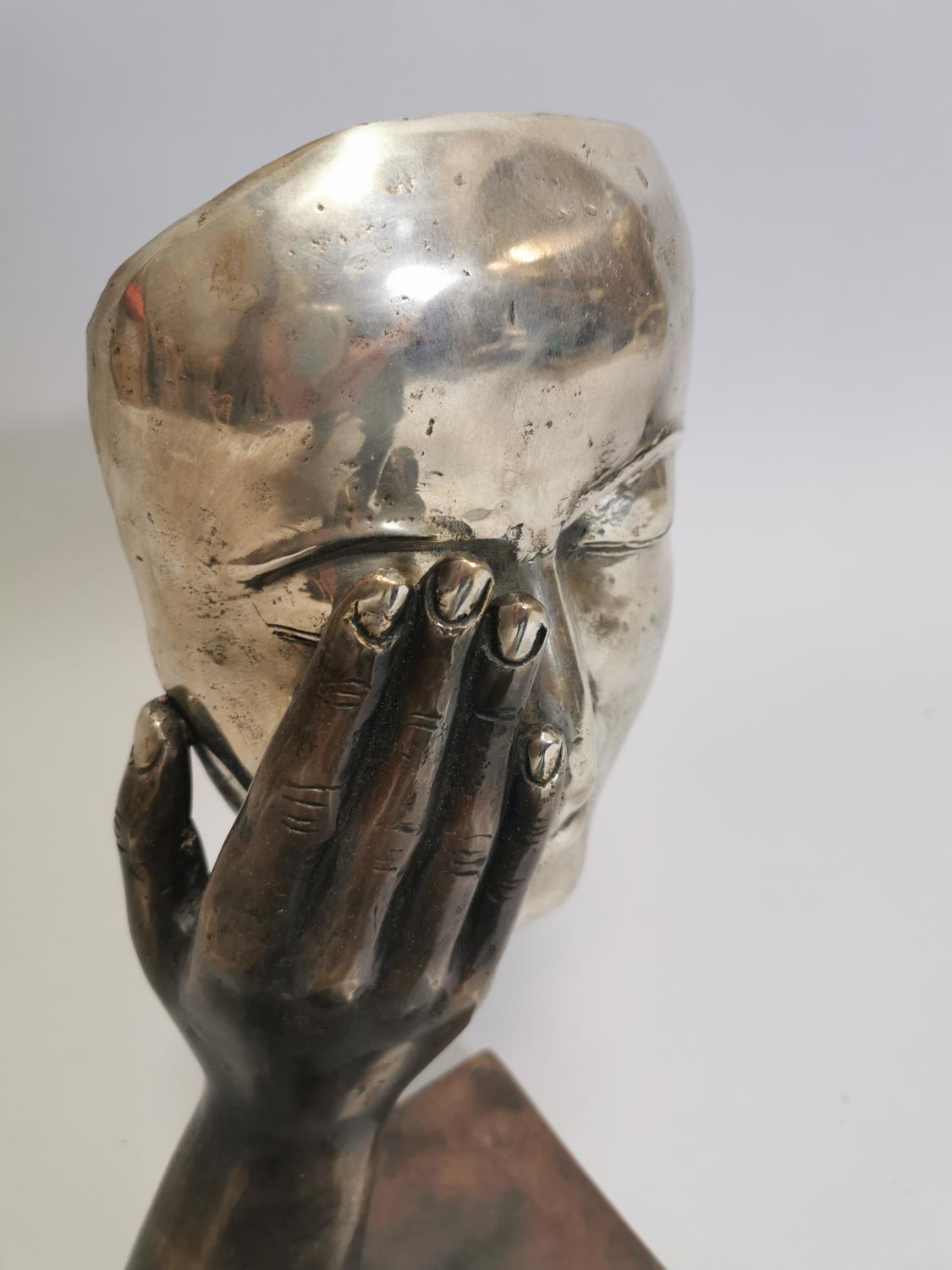 Bronze model of a hand and mask - Image 3 of 7