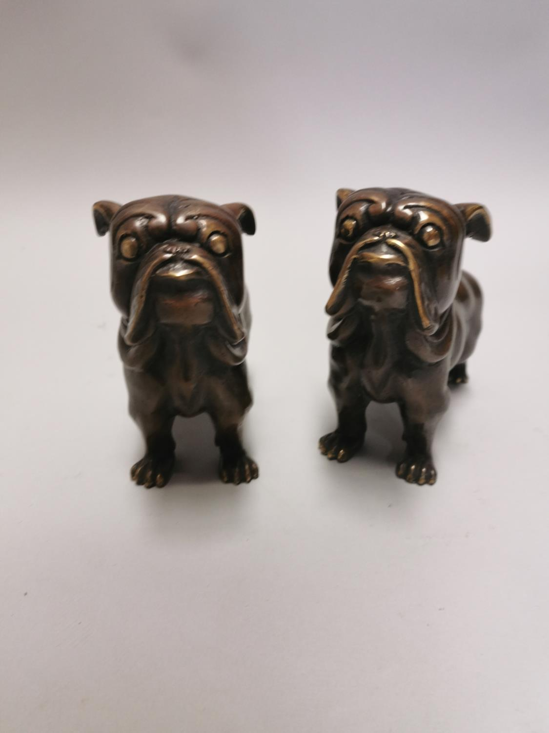 Pair of bronze models of pug dogs - Image 4 of 5