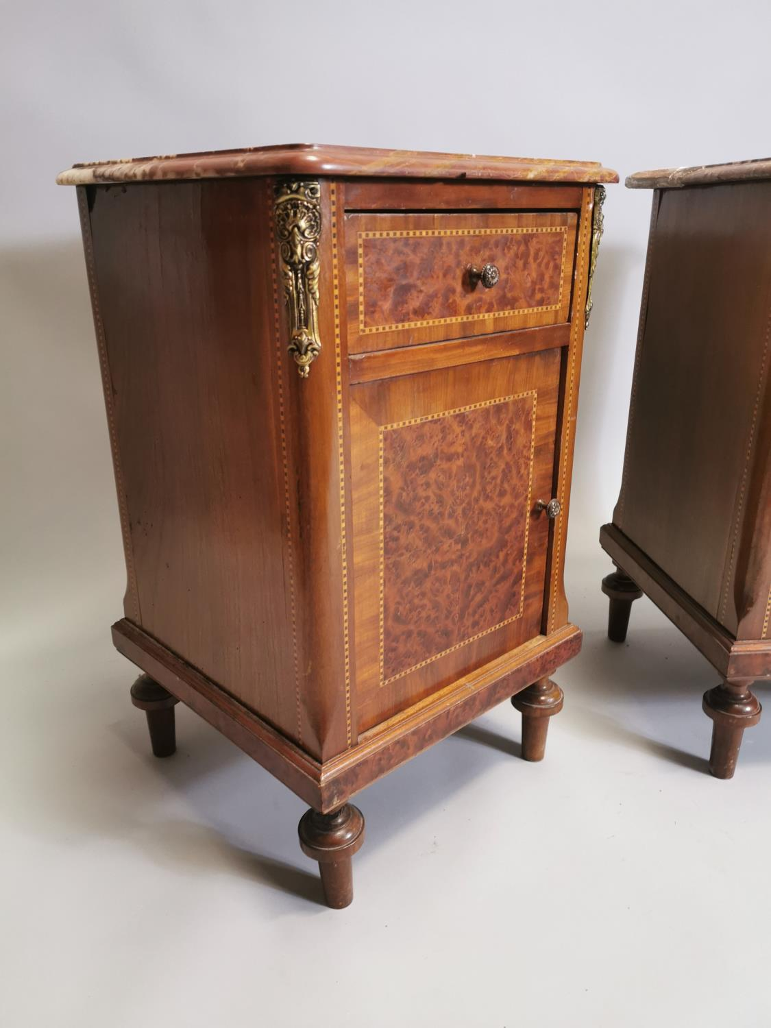 Pair of 19th. C. kingwood and burr walnut bedside lockers. - Image 4 of 8