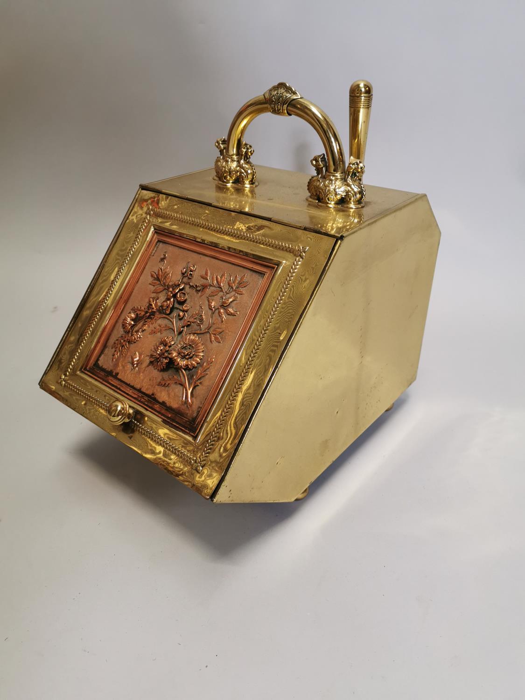 Good quality brass and metal coal box