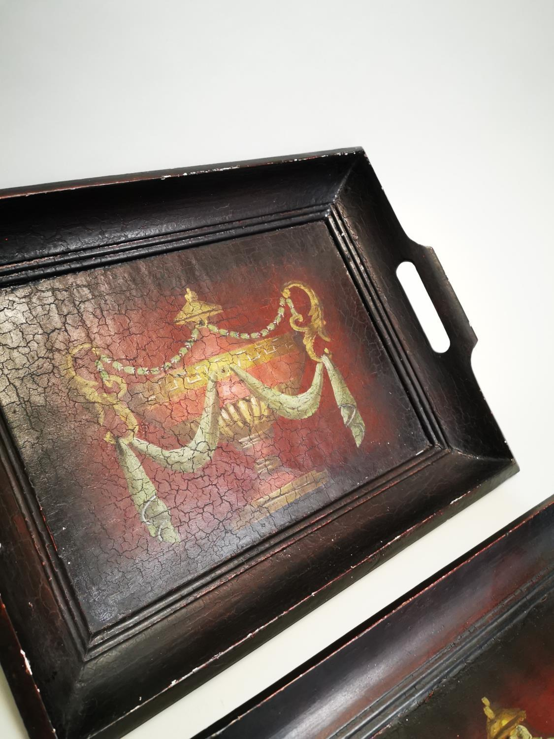 Two hand painted wooden serving trays - Image 4 of 6