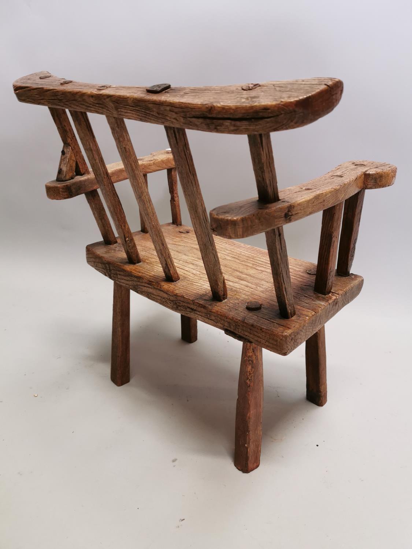 18th. C. Irish ash hedge armchair - Image 6 of 8