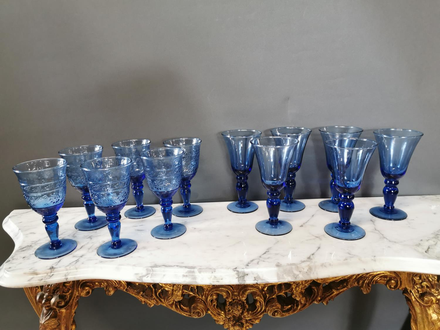 Two sets of six Bristol blue glass goblets