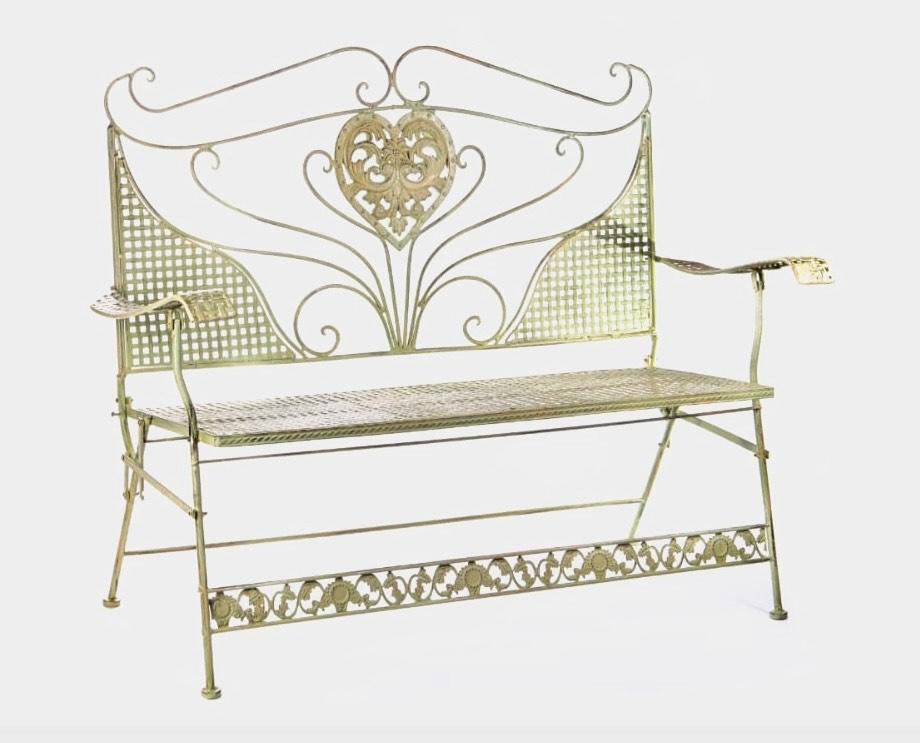 Cream Wrought Iron Foldable Seat.