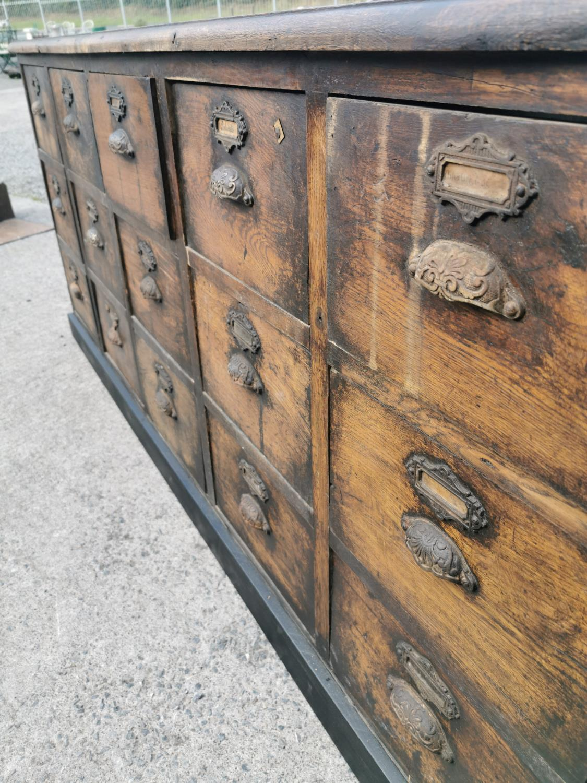 19th C. oak bank of drawers. - Image 3 of 8