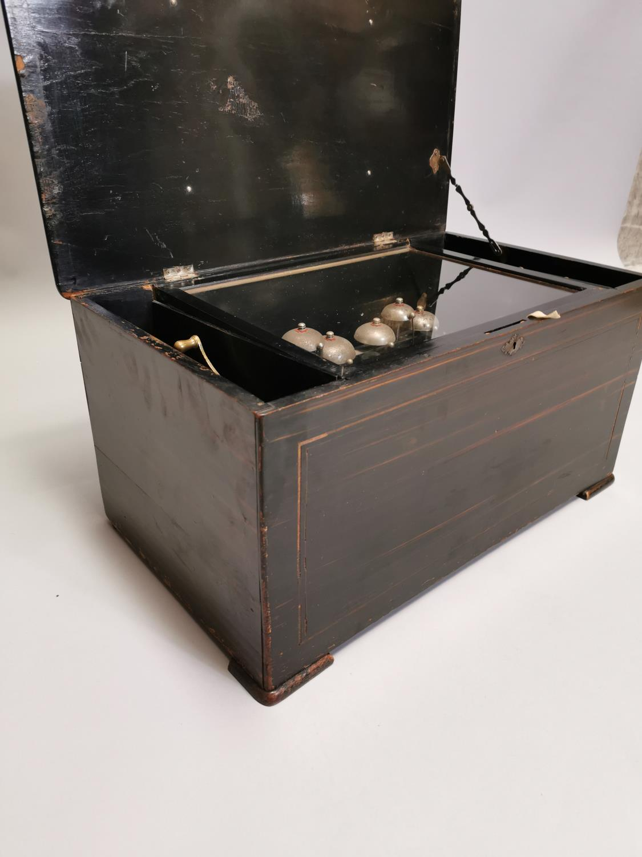 19th. C. mahogany and ebonised music box - Image 3 of 7