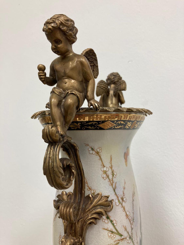Pair of Gilded Bronze & White Porcelain Cherub Vases - Image 3 of 3
