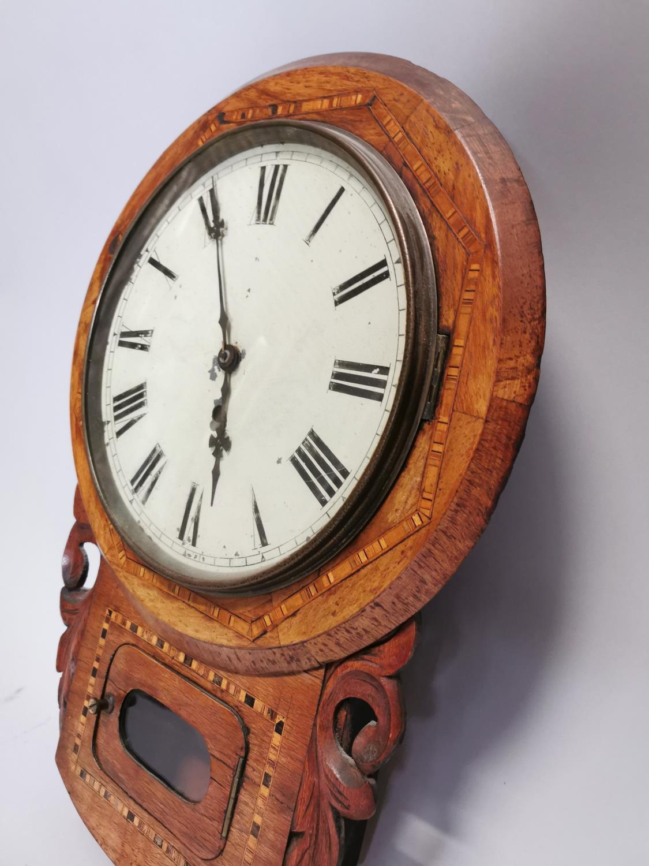 19th. C. inlaid walnut drop dial wall clock. - Image 2 of 7