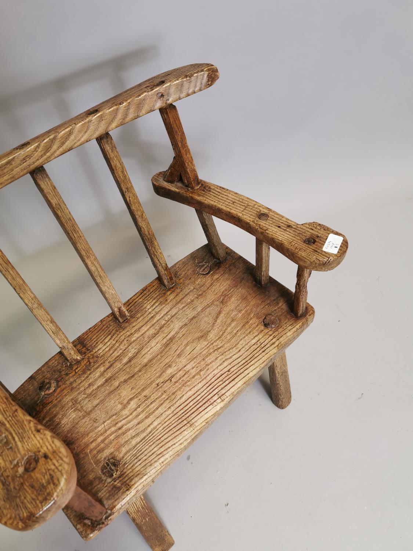 18th. C. Irish ash hedge armchair - Image 3 of 8