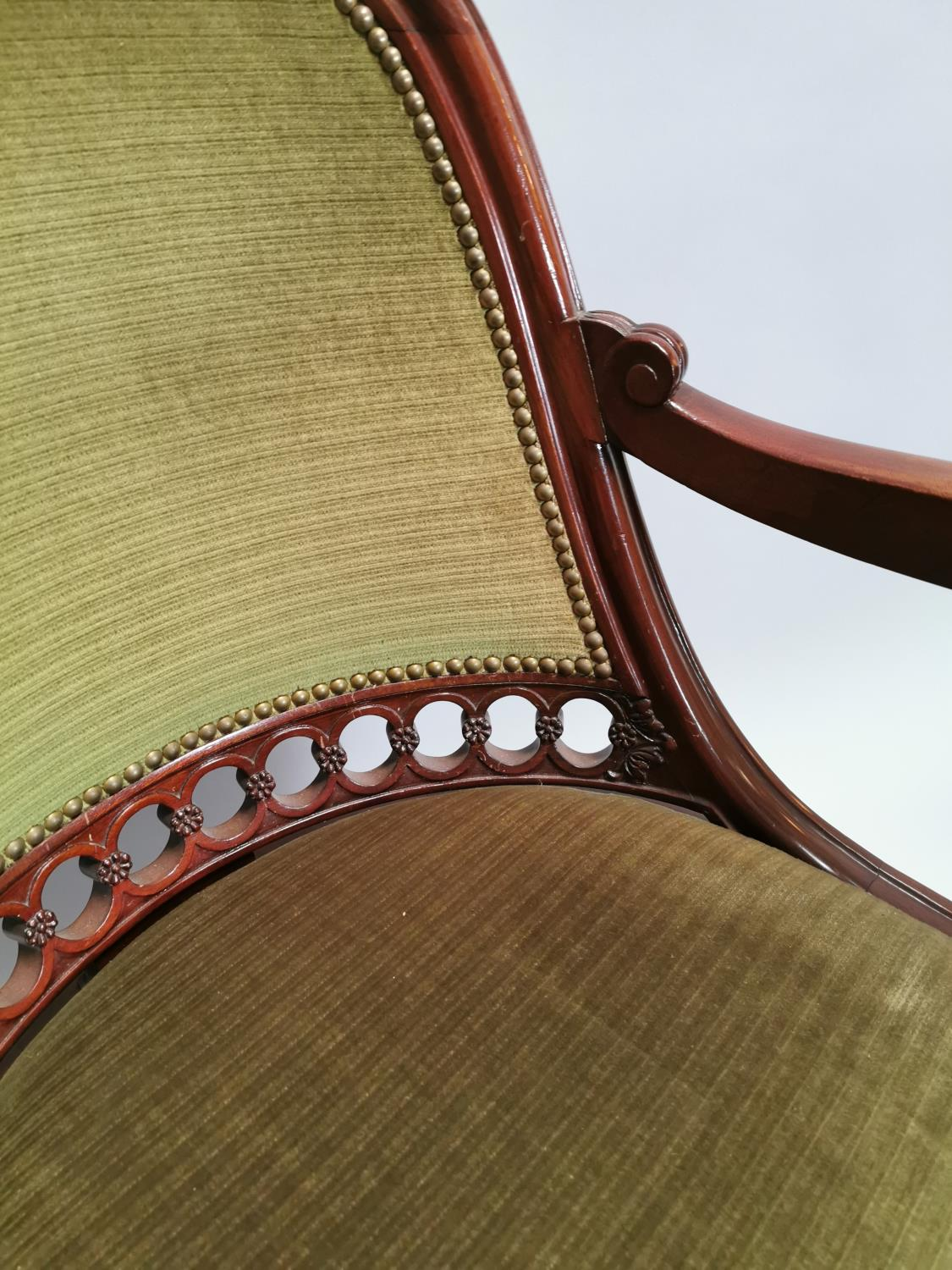 Upholstered mahogany desk chair - Image 4 of 8