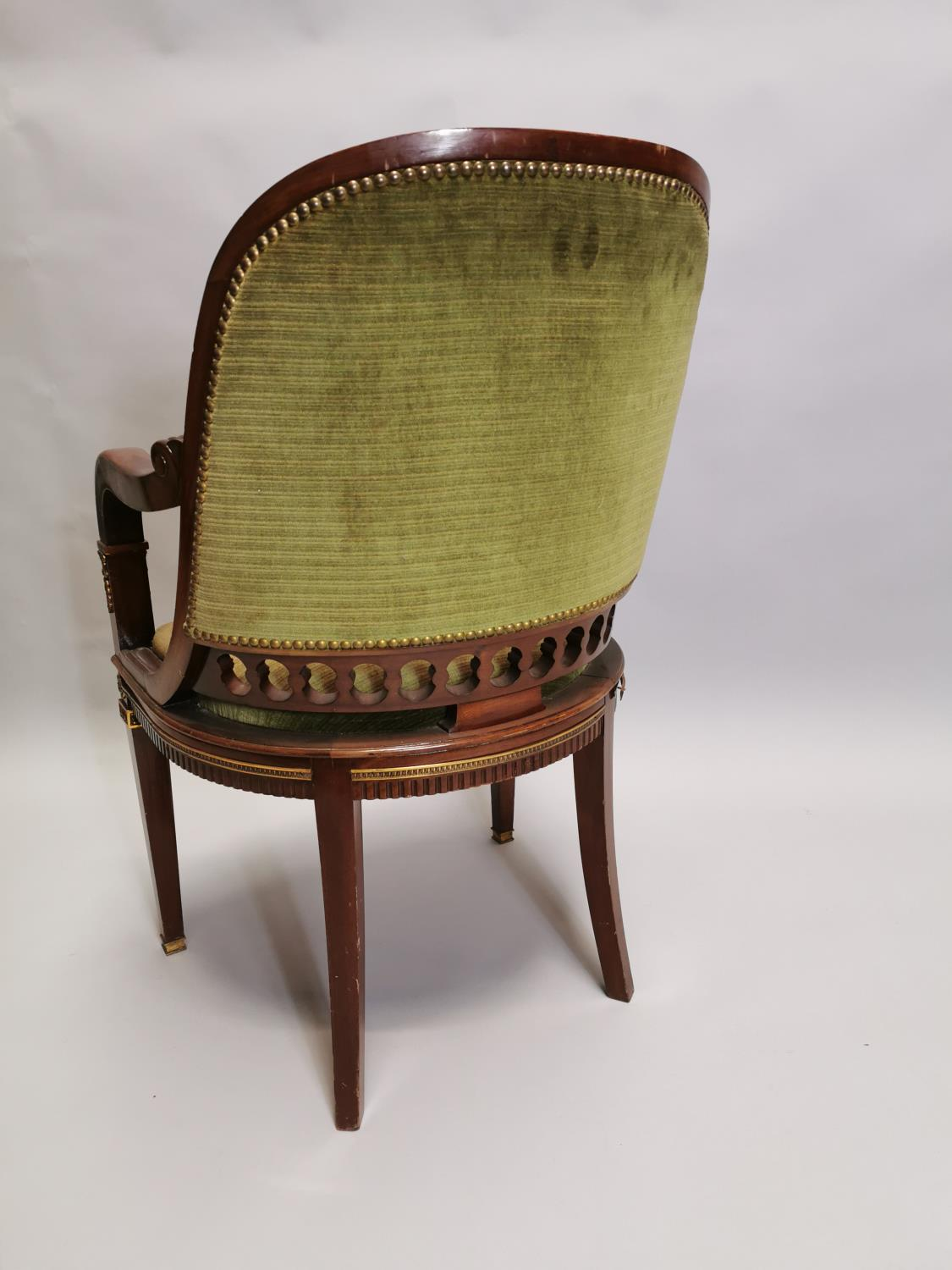 Upholstered mahogany desk chair - Image 8 of 8