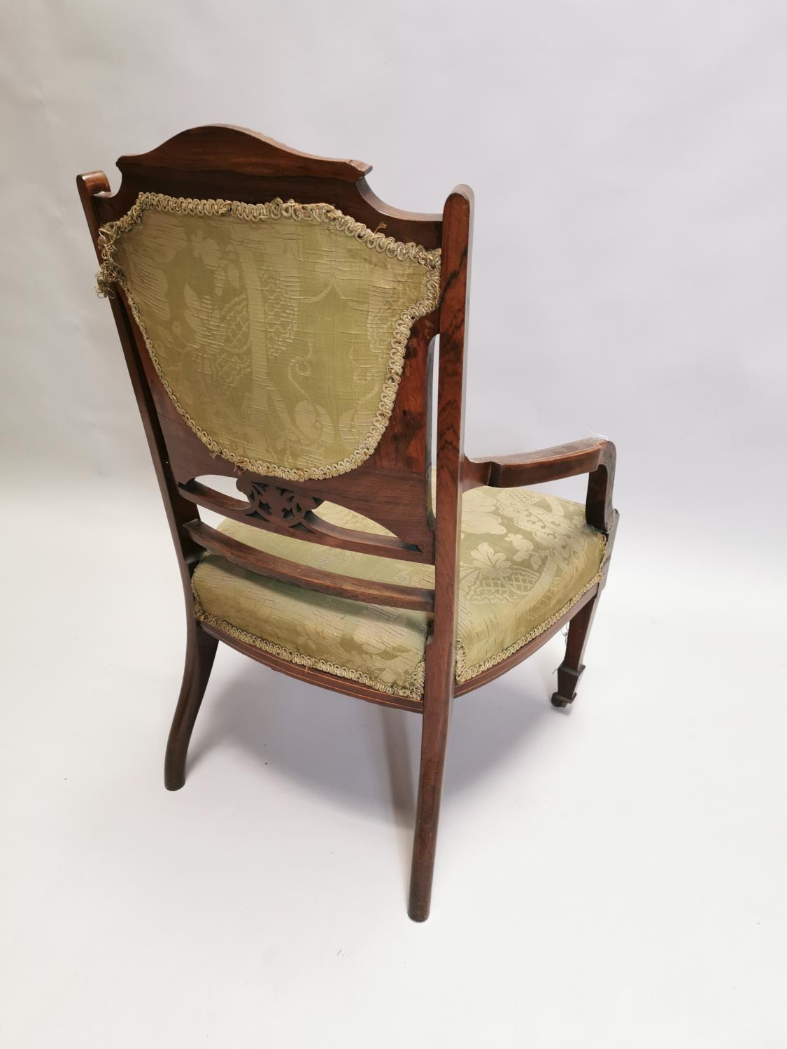 Edwardian inlaid upholstered Ladies armchair - Image 6 of 7