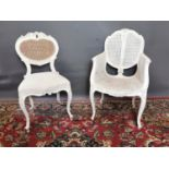 Two painted pine French style chairs