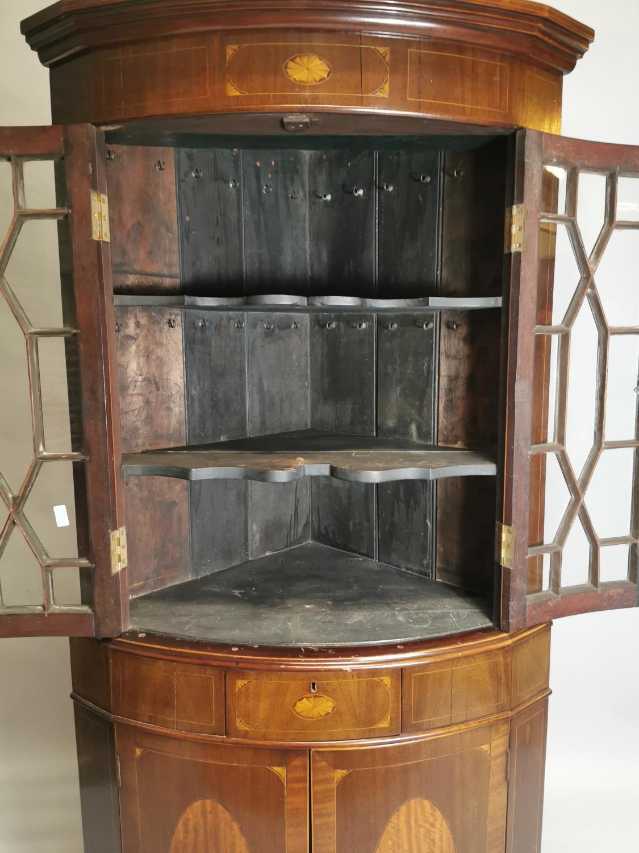 Georgian inlaid mahogany bow fronted corner cabinet - Image 6 of 7