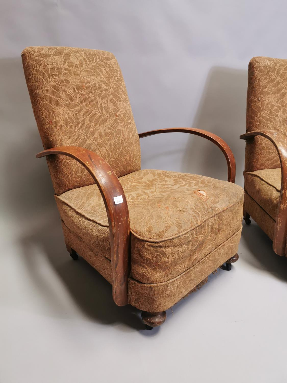 Pair of 1940's upholstered open armchairs - Image 4 of 5