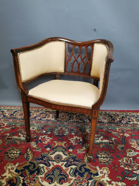 Edwardian upholstered inlaid mahogany armchair