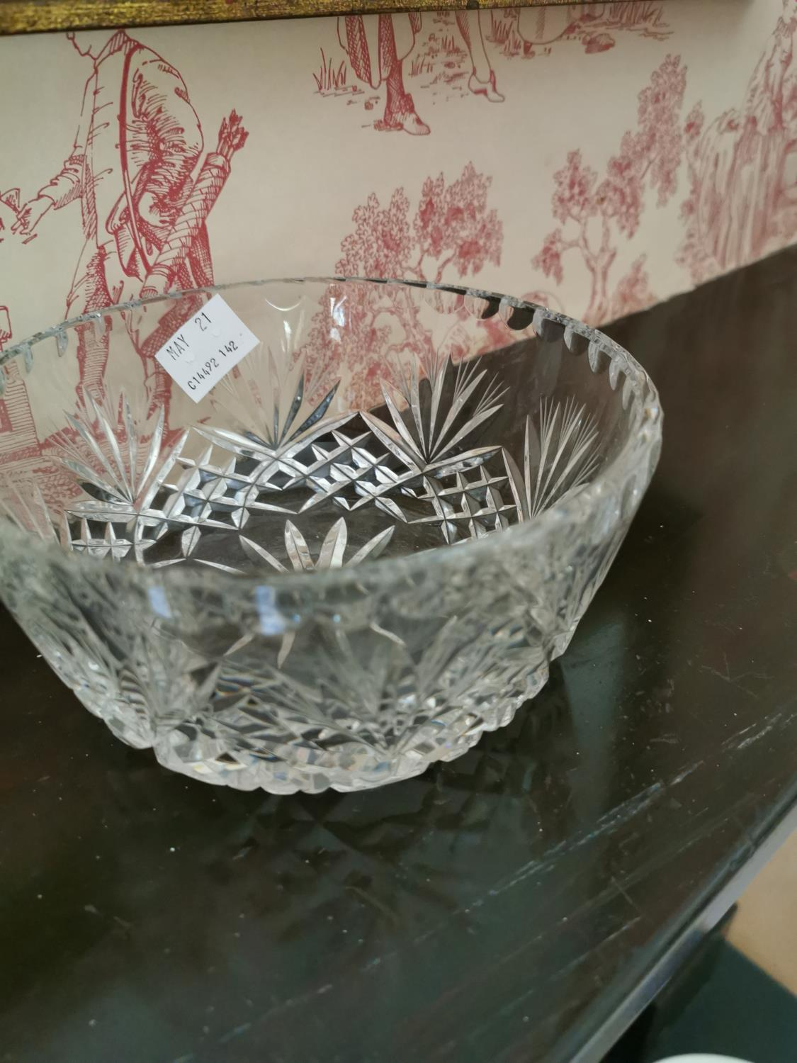 Cut glass bow, dish and Somerset jug - Image 2 of 2