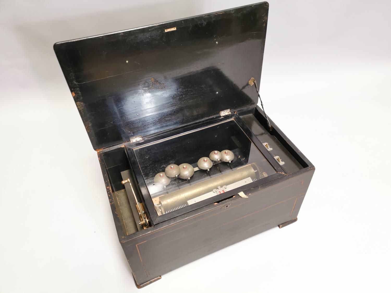 19th. C. mahogany and ebonised music box - Image 6 of 7