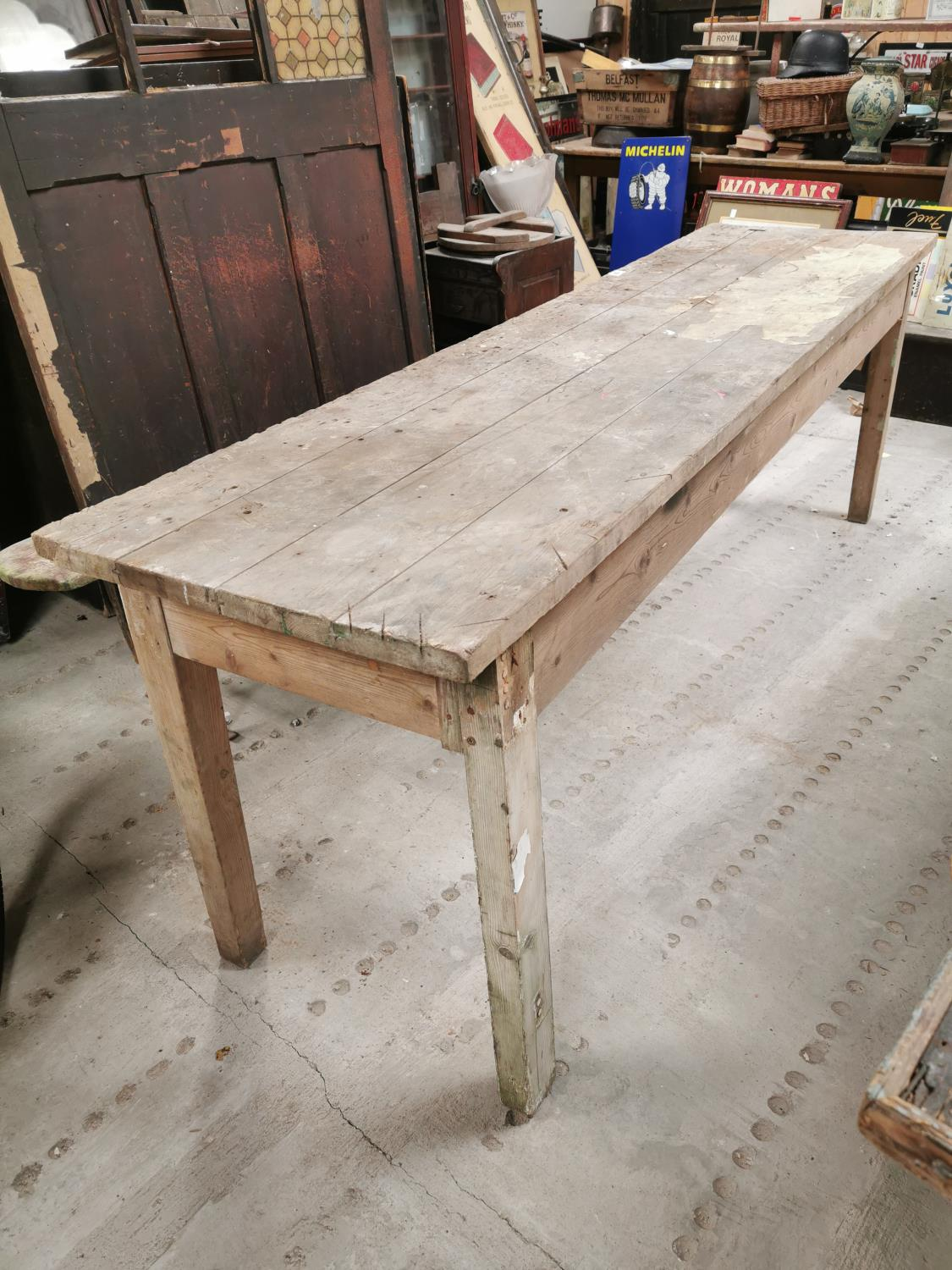 20th. C. pine kitchen table.