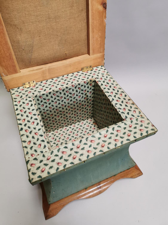 Edwardian mahogany upholstered ottoman - Image 4 of 7