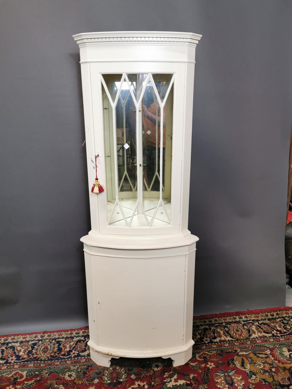 Painted mahogany corner cupboard,