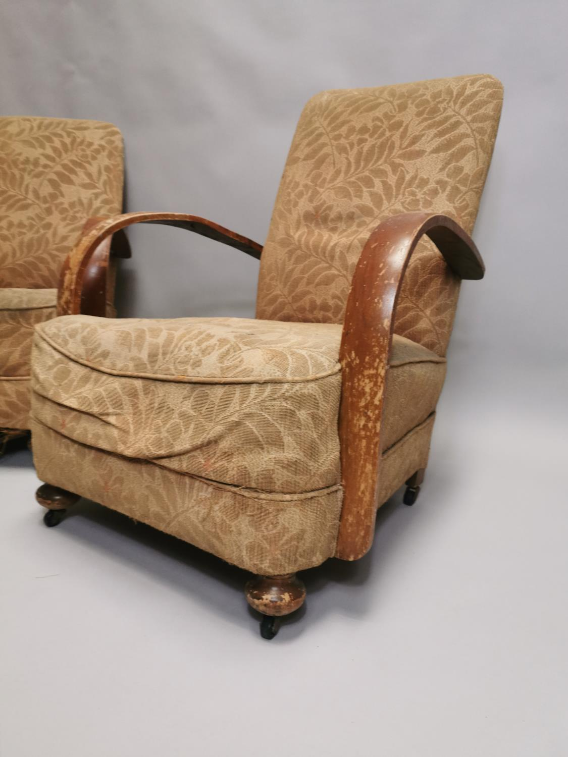 Pair of 1940's upholstered open armchairs - Image 3 of 5