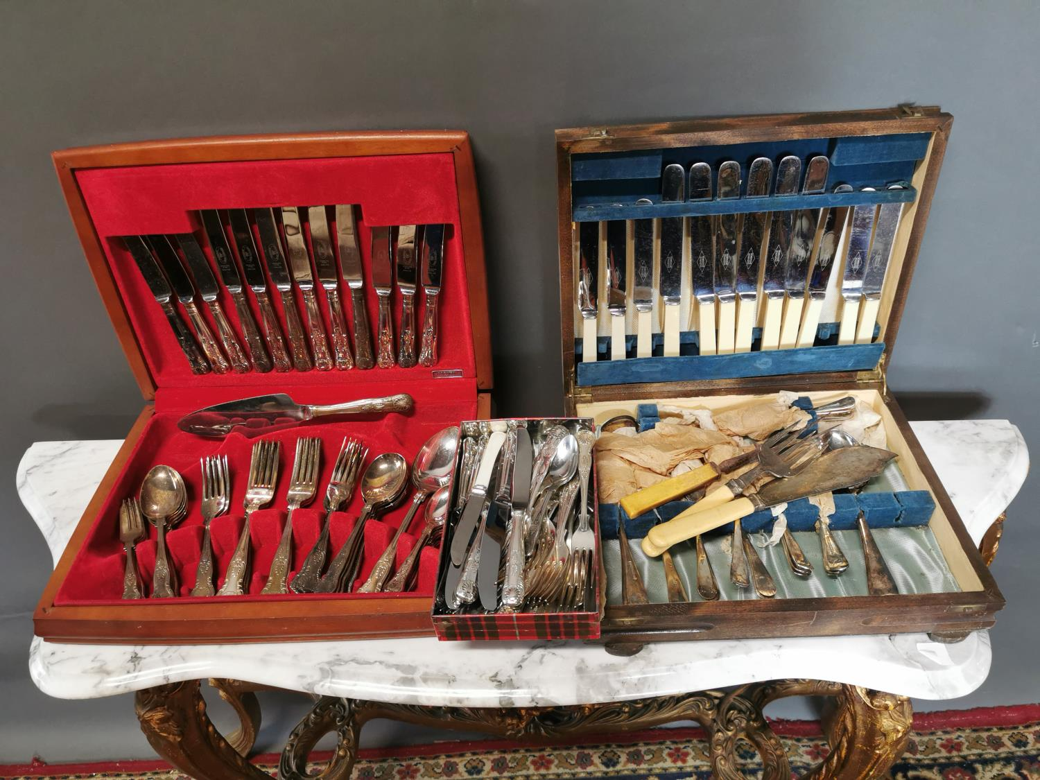 Two sets of Kings pattern cutlery and another set