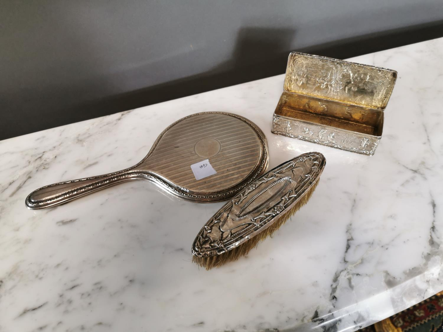 English silver hand mirror, brush and clip box. - Image 2 of 2