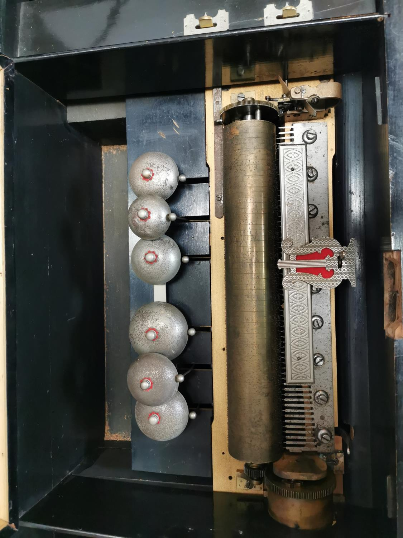 19th. C. mahogany and ebonised music box - Image 4 of 7