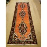 Persian hand knotted wool carpet runner