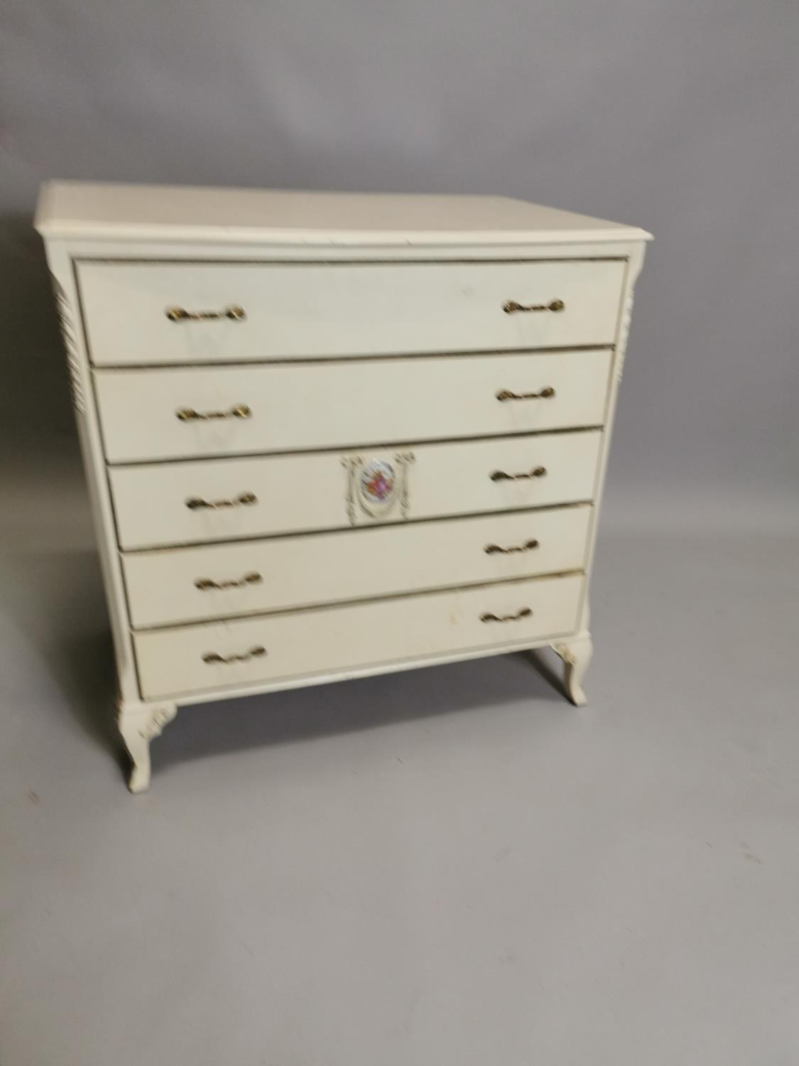 Painted chest with five long drawers