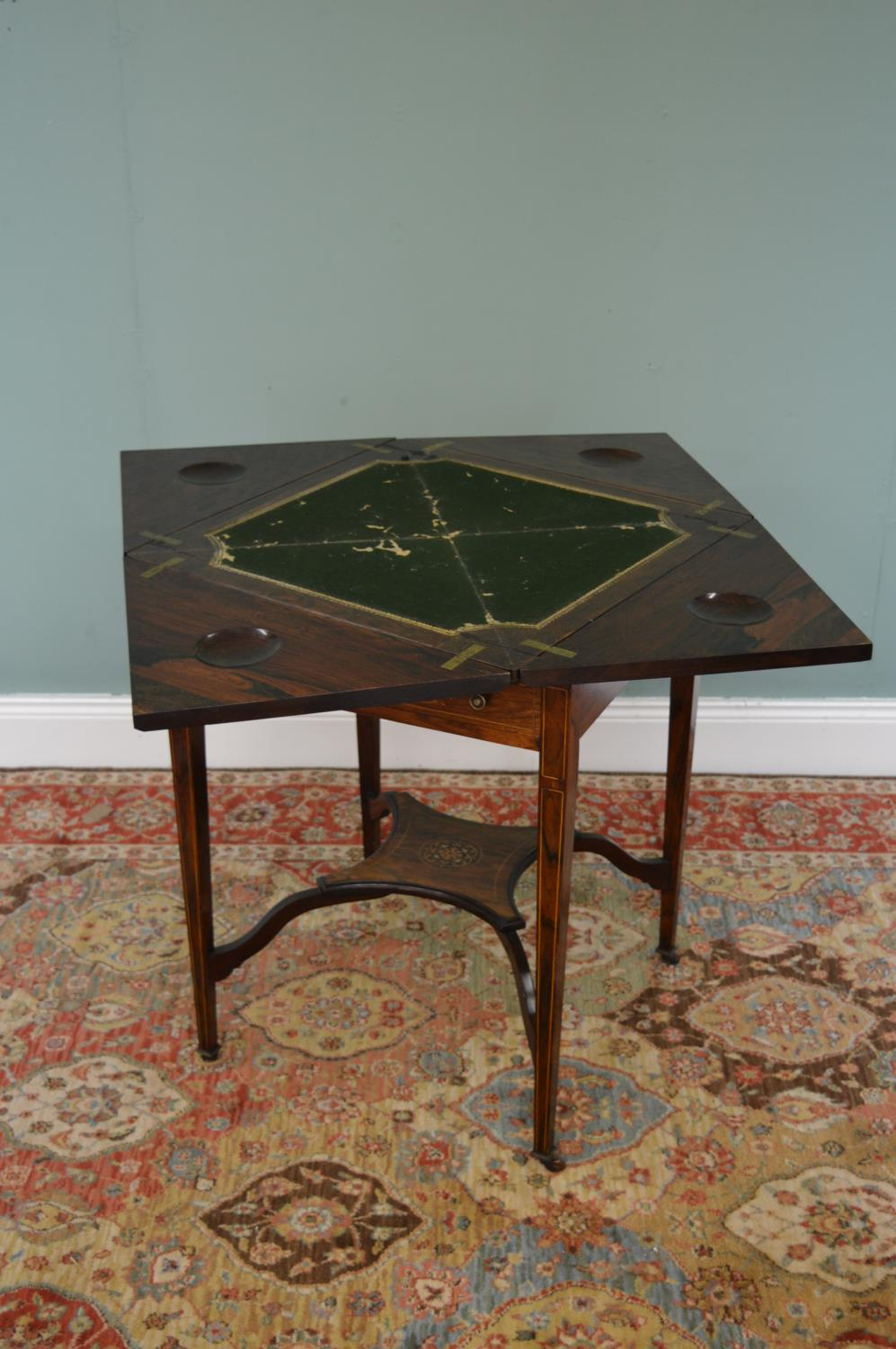 Edwardian rosewood and ivory inlaid envelope games table - Image 2 of 2