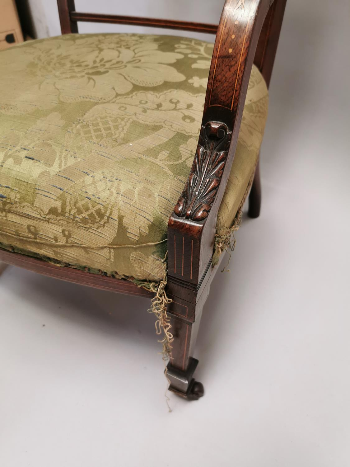 Edwardian inlaid upholstered Ladies armchair - Image 4 of 7