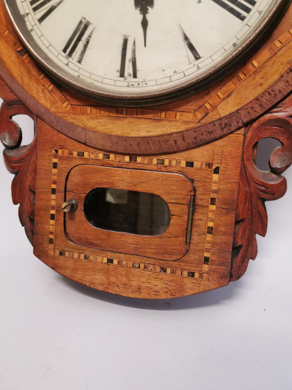 19th. C. inlaid walnut drop dial wall clock. - Image 4 of 7