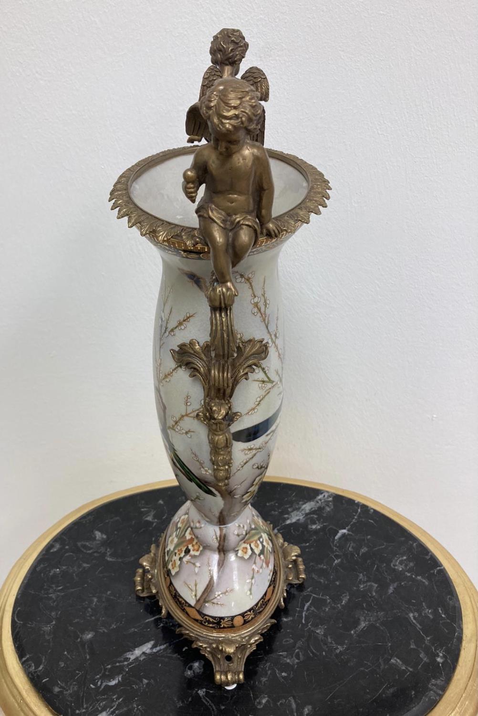 Pair of Gilded Bronze & White Porcelain Cherub Vases - Image 2 of 3