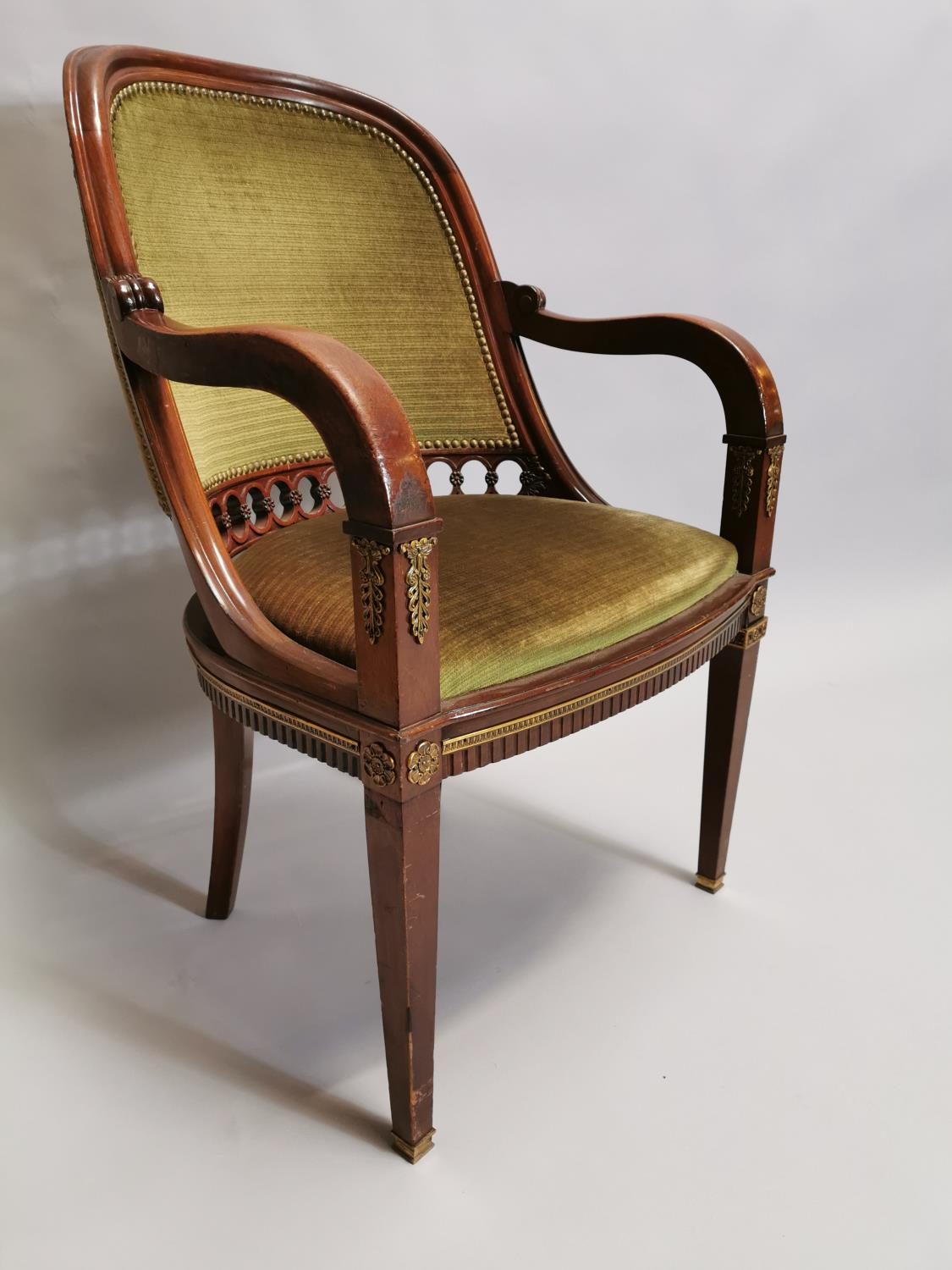 Upholstered mahogany desk chair - Image 6 of 8