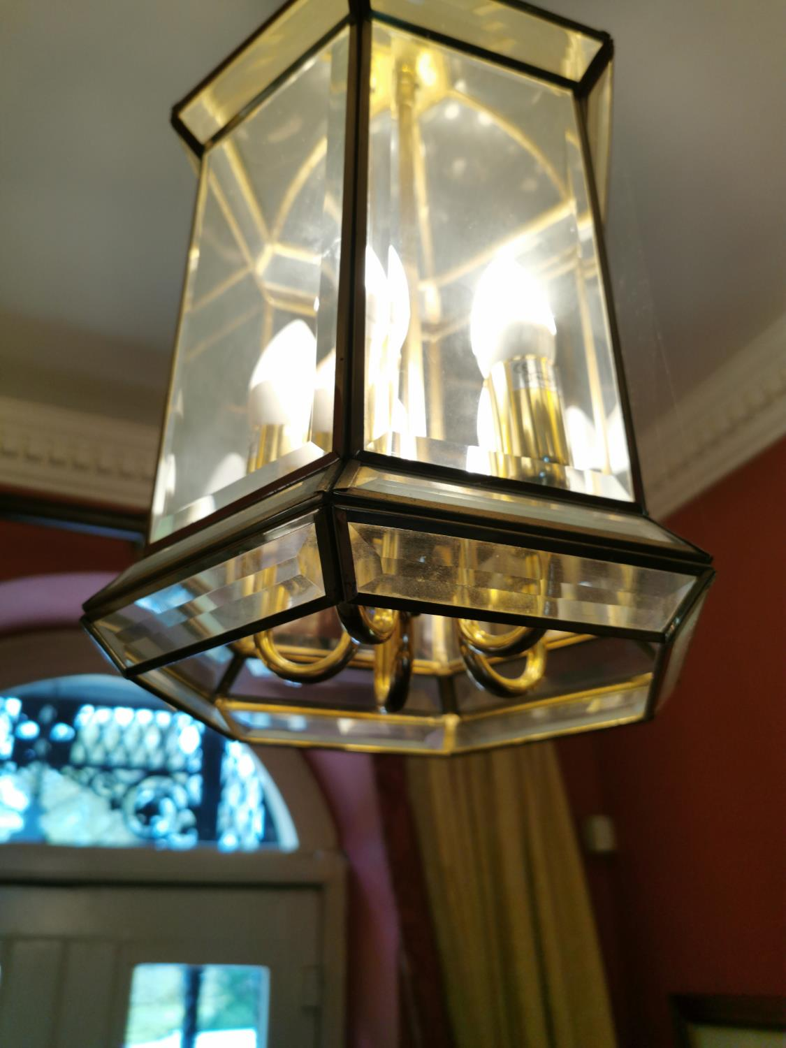Brass and Perspex hall lantern - Image 2 of 2