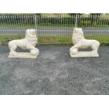 Pair of moulded stone Lions