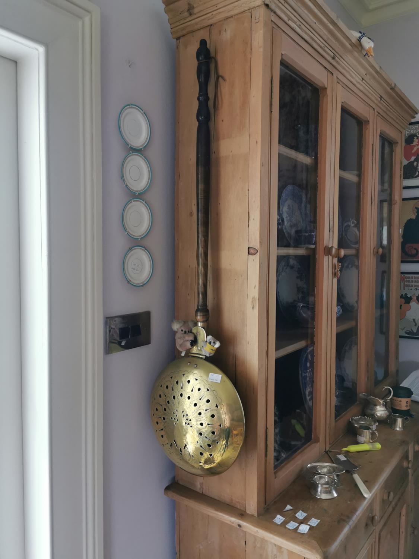 Brass and mahogany chestnut roaster