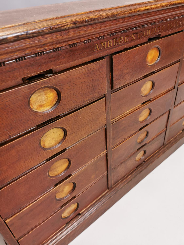 Rare Art Deco oak bank of fifteen drawers - Image 3 of 8