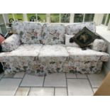 20th. C. three seater upholstered chesterfield couch
