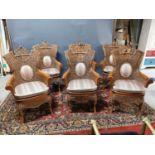 Set of six wicker armchairs
